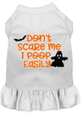 Mirage Pet Products 58-427 WTMD Don't Scare Me, Poops Easily Screen Print Dog Dress White Med