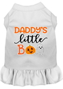Mirage Pet Products 58-431 WTMD Daddy's Little Boo Screen Print Dog Dress White Med
