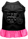 Mirage Pet Products 58-432 BKBPKXXL Most Wonderful Time of the Year (Football) Screen Print Dog Dress Black with Bright Pink XXL