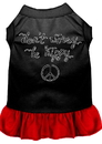 Mirage Pet Products 58-58 BKRDLG Be Hippy Screen Print Dog Dress Black with Red Lg