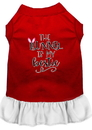 Mirage Pet Products 58-68 RDWTXXL Bunny is my Bestie Screen Print Dog Dress Red with White XXL