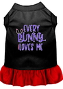 Mirage Pet Products 58-70 BKRDSM Every Bunny Loves me Screen Print Dog Dress Black with Red Sm