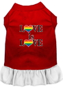 Mirage Pet Products 58-74 RDWTMD Love is Love Screen Print Dog Dress Red with White Med
