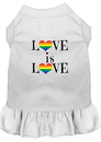 Mirage Pet Products 58-74 WTSM Love is Love Screen Print Dog Dress White Sm