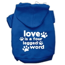 Mirage Pet Products 62-119 MDBL Love is a Four Leg Word Screen Print Pet Hoodies Blue Size Med