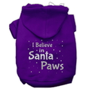 Mirage Pet Products 62-130 XLPR Screenprint Santa Paws Pet Hoodies Purple Size XL
