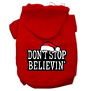 Mirage Pet Products 62-25-03 XLRD Don't Stop Believin' Screenprint Pet Hoodies Red Size XL