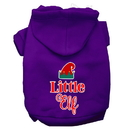 Mirage Pet Products 62-412 PRXXL Little Elf Screen Print Dog Hoodie Purple XXL