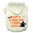 Mirage Pet Products 62-427 CRXXL Don't Scare Me, Poops Easily Screen Print Dog Hoodie Cream XXL