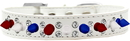 Mirage Pet Products 628-RWB WT18 Double Crystal with Red, White and Blue Spikes Dog Collar White Size 18