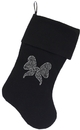 Mirage Pet Products Clear Bow Rhinestone 18 inch Velvet Christmas Stocking