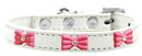 Mirage Pet Products 631-11 WT18 Pink Glitter Bow Widget Dog Collar White Size 18