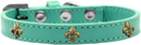 Mirage Pet Products 631-16 AQ16 Bronze Fleur De Lis Widget Dog Collar Aqua Size 16