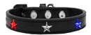 Mirage Pet Products 631-34 BK20 Red, White and Blue Stars Widget Dog Collar Black Size 20