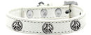 Mirage Pet Products 631-35 WT20 Peace Sign Widget Dog Collar White Size 20