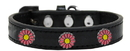 Mirage Pet Products 631-38 BK18 Pink Daisy Widget Dog Collar Black Size 18