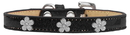 Mirage Pet Products 632-1 BK12 Silver Flower Widget Dog Collar Black Ice Cream Size 12