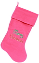 Mirage Pet Products 64-07 PK Merry Christmas Screen Print 18 inch Velvet Christmas Stocking Pink