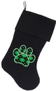 Mirage Pet Products 64-13 BK Argyle Paw Green Screen Print 18 inch Velvet Christmas Stocking Black