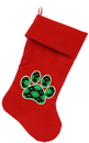 Mirage Pet Products 64-13 RD Argyle Paw Green Screen Print 18 inch Velvet Christmas Stocking Red