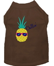 Mirage Pet Products 650-09 BRLG Pineapple Chillin Embroidered Dog Shirt Brown Lg