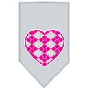 Mirage Pet Products 66-113 SMGY Argyle Heart Pink Screen Print Bandana Grey Small