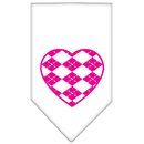 Mirage Pet Products 66-113 SMWT Argyle Heart Pink Screen Print Bandana White Small