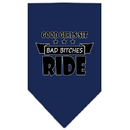 Mirage Pet Products 66-166 SMNB Bitches Ride Screen Print Bandana Navy Blue Small