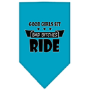 Mirage Pet Products 66-166 SMTQ Bitches Ride Screen Print Bandana Turquoise Small