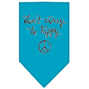 Mirage Pet Products 66-168 LGTQ Be Hippy Screen Print Bandana Turquoise Large