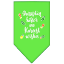 Mirage Pet Products 66-171 LGLG Pumpkin Kisses Screen Print Bandana Lime Green Large