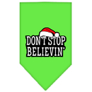 Mirage Pet Products 66-25-12 SMLG Dont Stop Believin Screen Print Bandana Lime Green Small