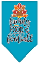 Mirage Pet Products 66-428 SMTQ Family, Food, and Football Screen Print Bandana Turquoise Small