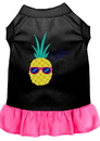 Mirage Pet Products 670-09 BKBPKLG Pineapple Chillin Embroidered Dog Dress Black with Bright Pink Lg