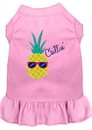 Mirage Pet Products 670-09 LPKSM Pineapple Chillin Embroidered Dog Dress Light Pink Sm