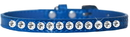 Mirage Pet Products 720-05 BLC16 One Row Clear Jewel Croc Dog Collar Blue Size 16