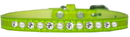 Mirage Pet Products 720-08 LGC16 Pearl and Clear Jewel Croc Dog Collar Lime Green Size 16
