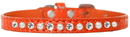 Mirage Pet Products 720-08 ORC10 Pearl and Clear Jewel Croc Dog Collar Orange Size 10