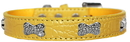 Mirage Pet Products 720-10 YWC20 Croc Crystal Bone Dog Collar Yellow Size 20