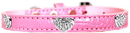 Mirage Pet Products 720-11 LPKC14 Croc Crystal Heart Dog Collar Light Pink Size 14
