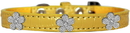 Mirage Pet Products 720-12 YWC16 Silver Flower Widget Croc Dog Collar Yellow Size 16