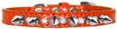 Mirage Pet Products 720-17 ORC16 Silver Spike and Clear Jewel Croc Dog Collar Orange Size 16