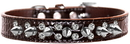 Mirage Pet Products 720-18 CHC14 Double Crystal and Spike Croc Dog Collar Chocolate Size 14