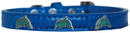 Mirage Pet Products 720-20 BLC16 Dolphin Widget Croc Dog Collar Blue Size 16