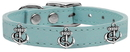 Mirage Pet Products 83-101 BBL10 Silver Anchor Widget Genuine Leather Dog Collar Baby Blue 10