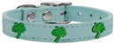 Mirage Pet Products 83-103 BBL14 Green Palm Tree Widget Genuine Leather Dog Collar Baby Blue 14