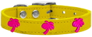 Mirage Pet Products 83-104 Yw22 Pink Palm Tree Widget Genuine Leather Dog Collar Yellow 22
