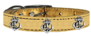 Mirage Pet Products 83-106 Gd18 Silver Anchor Widget Genuine Metallic Leather Dog Collar Gold 18