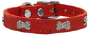 Mirage Pet Products 83-112 Rd12 Crystal Bone Genuine Leather Dog Collar Red 12