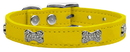 Mirage Pet Products 83-112 Yw10 Crystal Bone Genuine Leather Dog Collar Yellow 10
